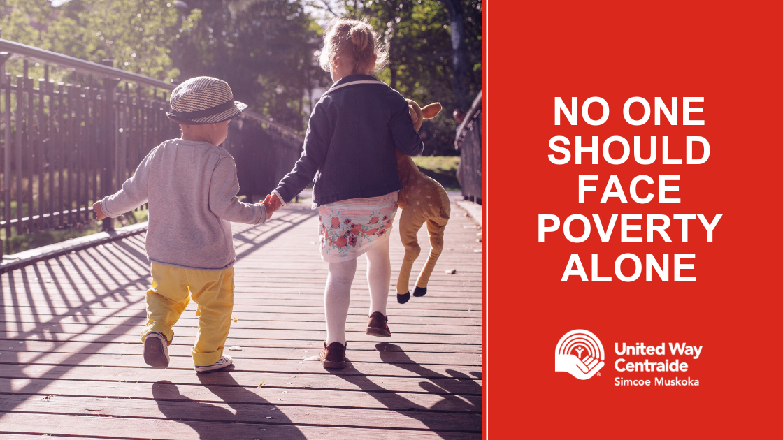 No one should face poverty alone, United Way Simcoe Muskoka, children holding hands and walking together